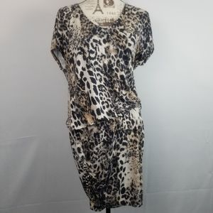 Drop Waist Leopard Print Stretchy Dress
